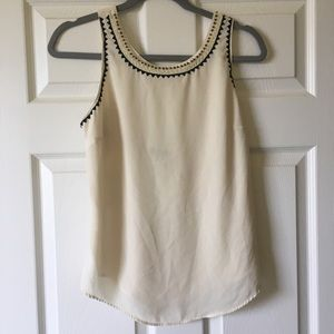 Cream tank too with embroidery and beading NWOT